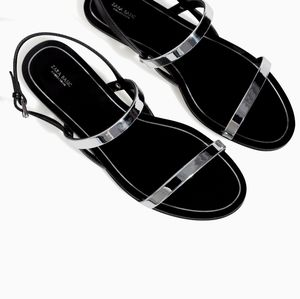 Zara Basic Collection Silver Flat Sandals
